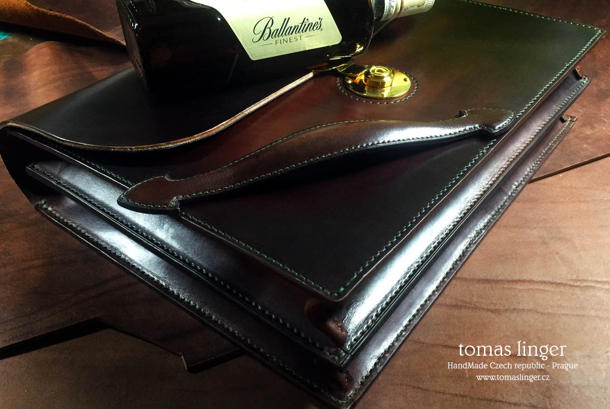 handmade briefcase leather