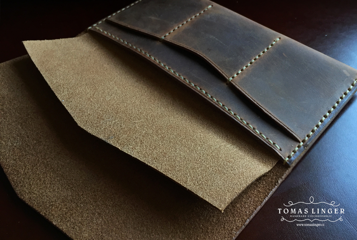 old school handmade wallet leather